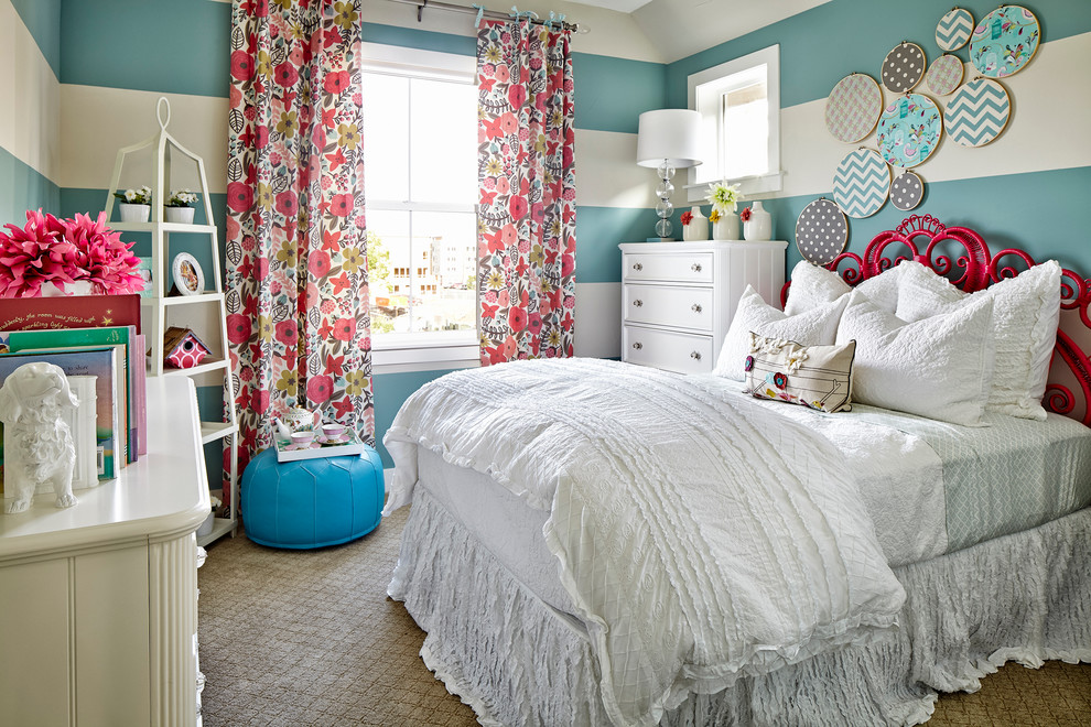 Elegant carpeted bedroom photo in Denver with multicolored walls