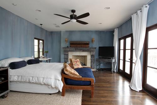 Playa del Rey Mediterranean Master Bedroom with Fireplace Remodel