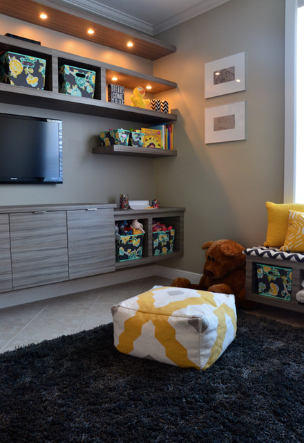 Kids Playroom With Tv playroom - contemporary - bedroom - miami -kabco kitchens