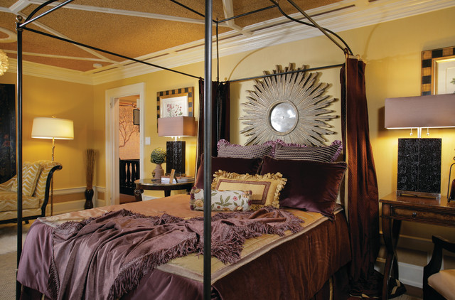 Plum And Gold Master Bedroom Traditional Bedroom New York By Creative Wallcoverings