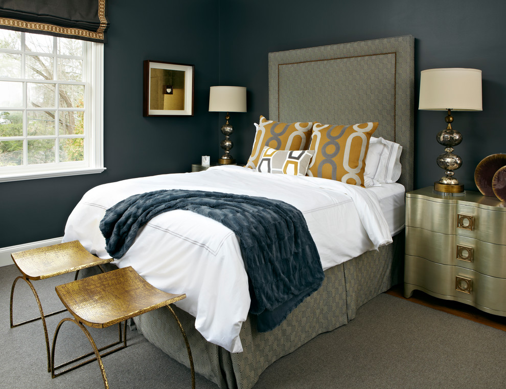 Example of a mid-sized transitional master bedroom design in New York with blue walls