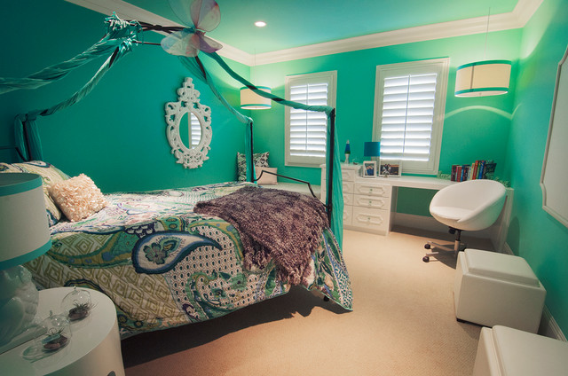 Pre teen girl 39 s bedroom transitional bedroom orange - Chambre rose et turquoise ...