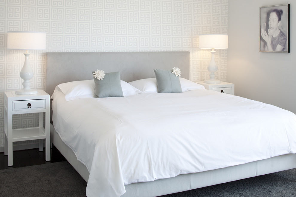 Example of a trendy carpeted bedroom design in San Francisco with gray walls