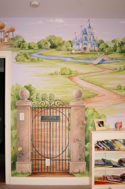 Princess castle mural traditional bedroom boston for Castle mural kids room
