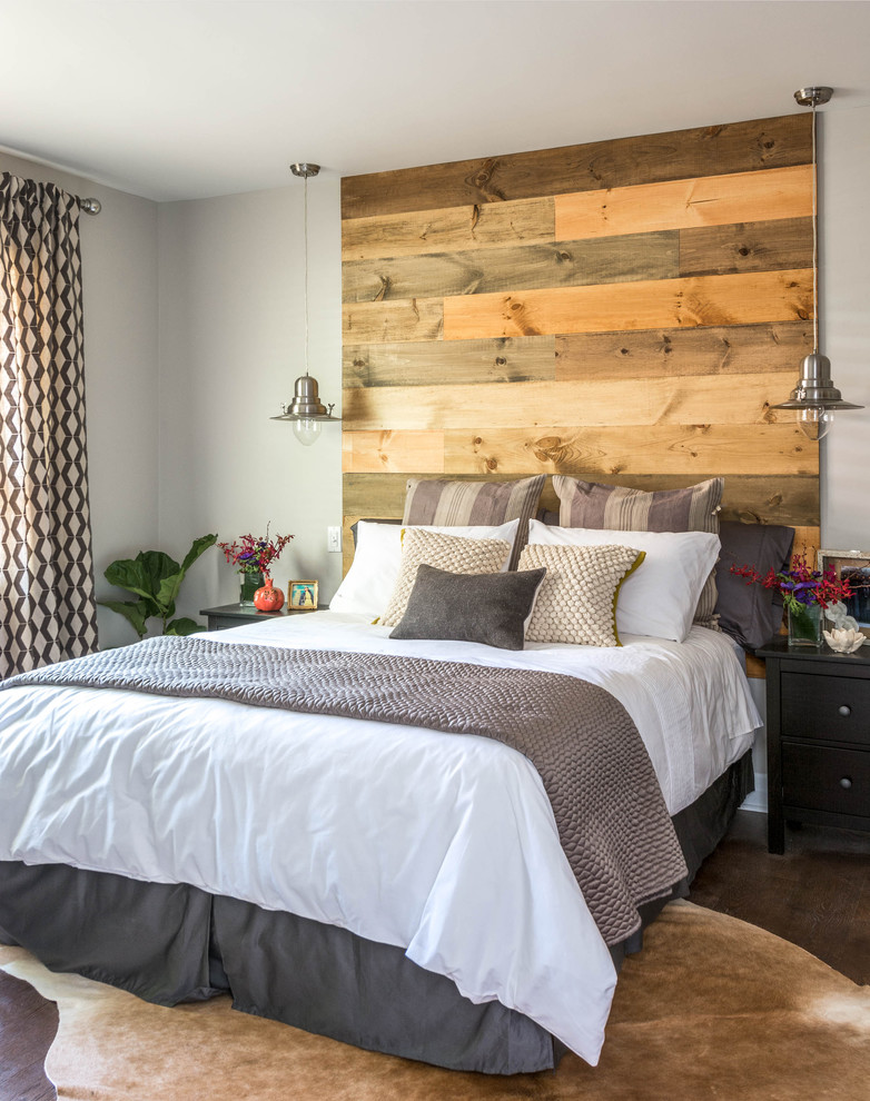 Inspiration for a mid-sized contemporary master dark wood floor and brown floor bedroom remodel in Toronto with gray walls and no fireplace