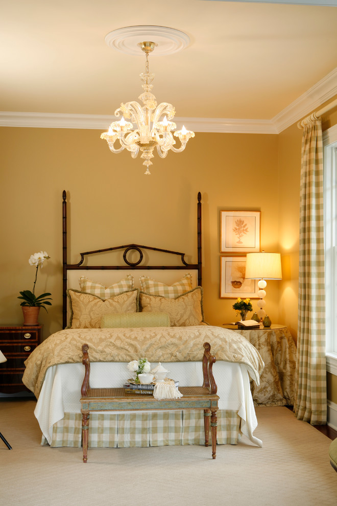 Inspiration for a mid-sized timeless guest carpeted bedroom remodel in New York with beige walls