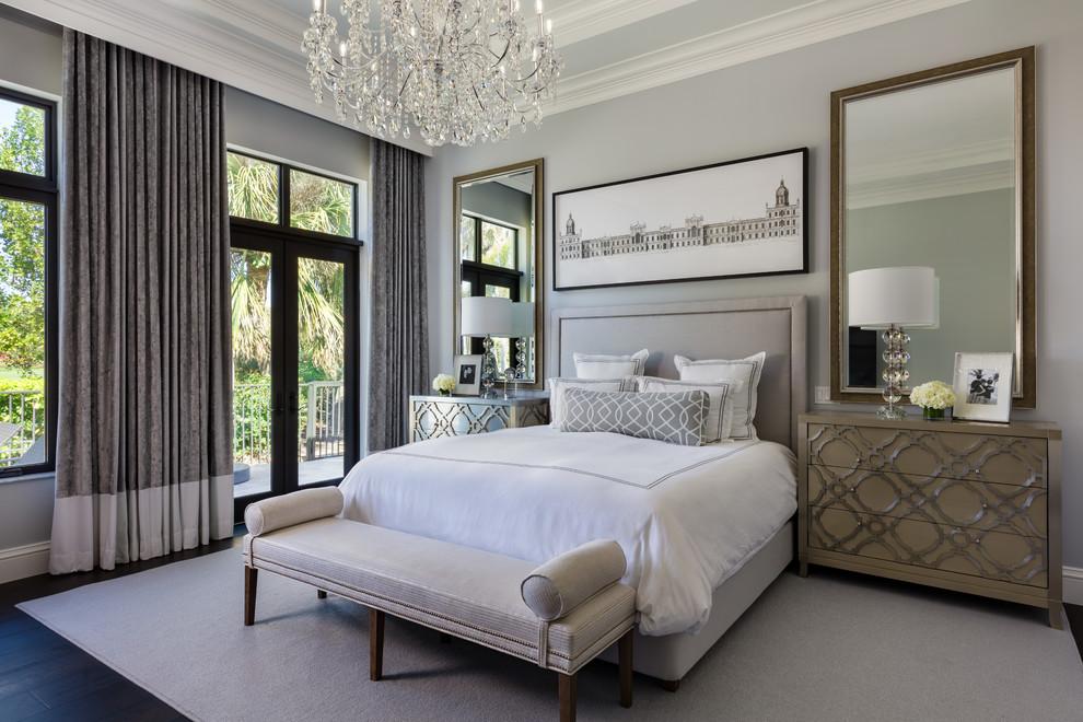 Bedroom - transitional master dark wood floor bedroom idea in Hawaii with gray walls and no fireplace