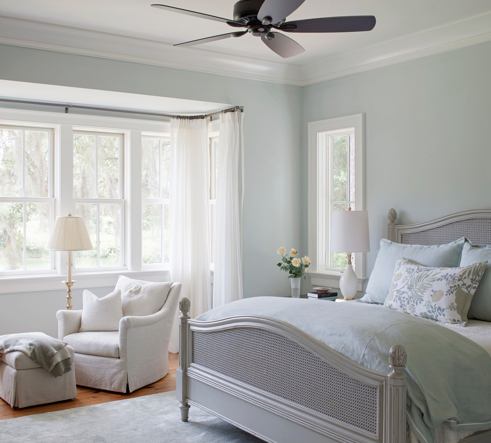 Bedroom - mid-sized traditional guest medium tone wood floor bedroom idea in Other with blue walls