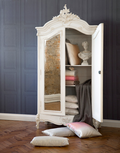 provencal 2 drawer mirrored french armoire traditional. Black Bedroom Furniture Sets. Home Design Ideas
