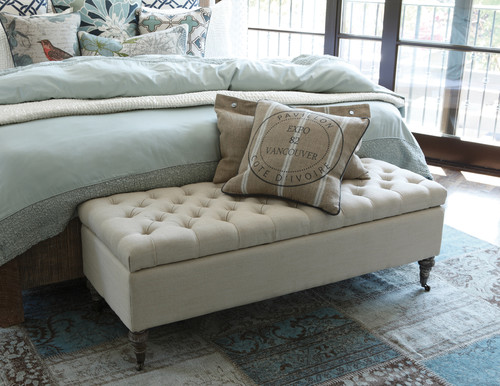 Sourcing the tufted storage bench