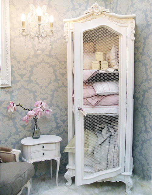 Provencal Wire Fronted Demi Armoire Traditional Bedroom
