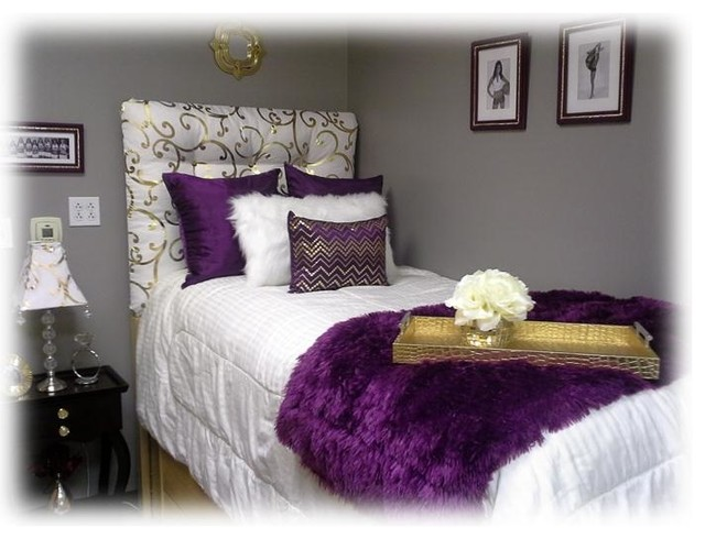 Purple and gold dorm room for Bedroom ideas 12x14