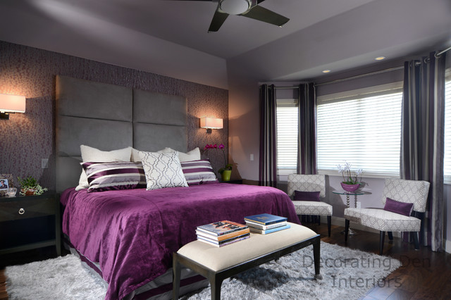 Purple and gray contemporary master bedroom contemporary for Decorating den interiors
