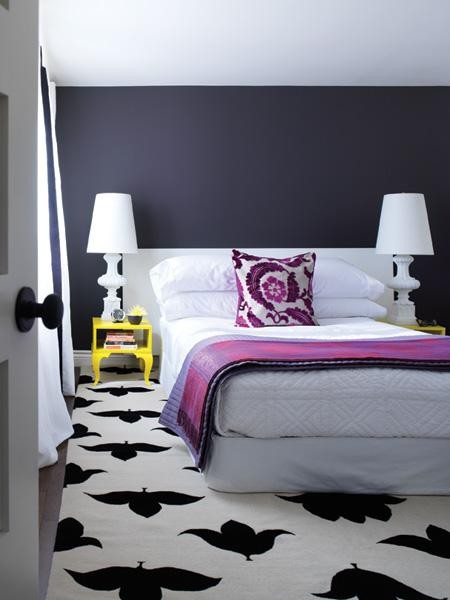 purple bedroom white rug with black large tulip pattern