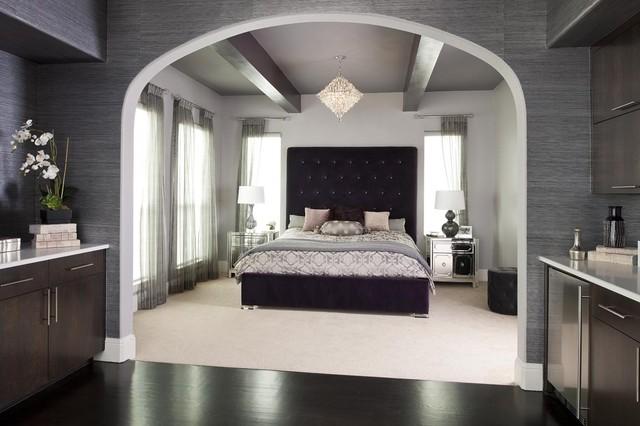 Purple Glam Master Bedroom - Contemporary - Bedroom - Dallas ...