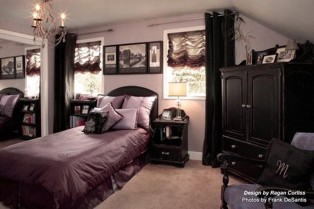 Purple shabby chic traditional bedroom portland by ragan
