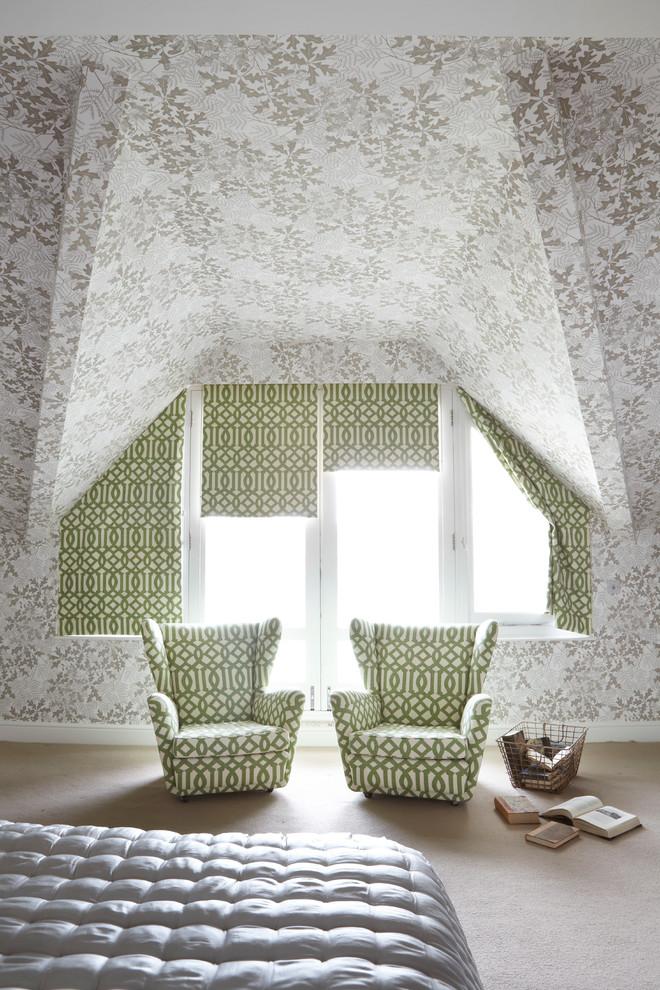 Trendy carpeted bedroom photo in London