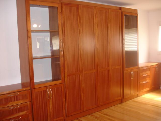 Queen Wall Bed - Khaya Wood Veneer tropical-bedroom