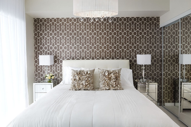 Example of a trendy bedroom design in Toronto with multicolored walls. Bedroom Wallpaper Accent Wall   Houzz
