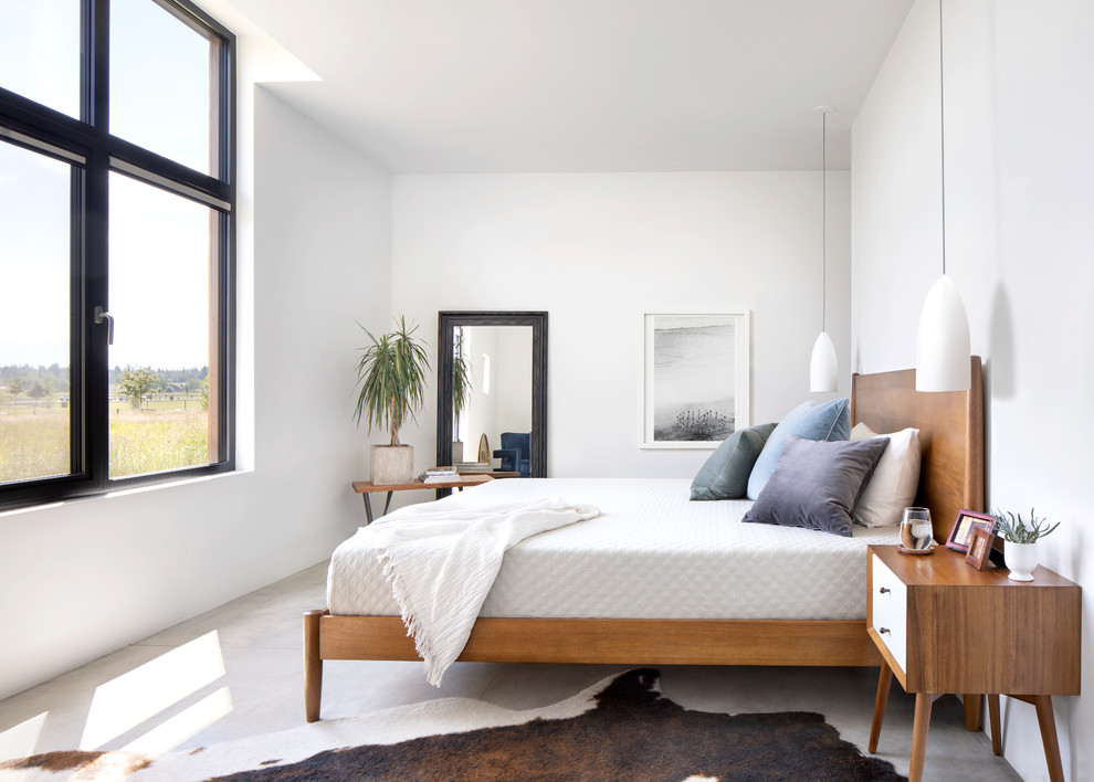 Example of a large danish master concrete floor and gray floor bedroom design in Other with white walls and no fireplace