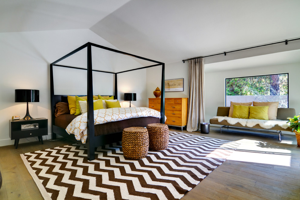 Bedroom - contemporary medium tone wood floor bedroom idea in San Diego with white walls