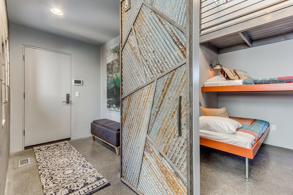 Example of a minimalist bedroom design in Oklahoma City