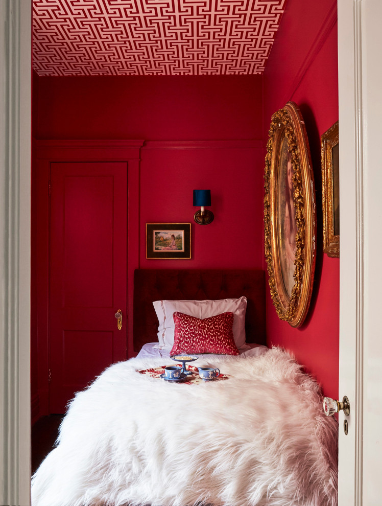 Eclectic wallpaper ceiling bedroom photo in Chicago with red walls