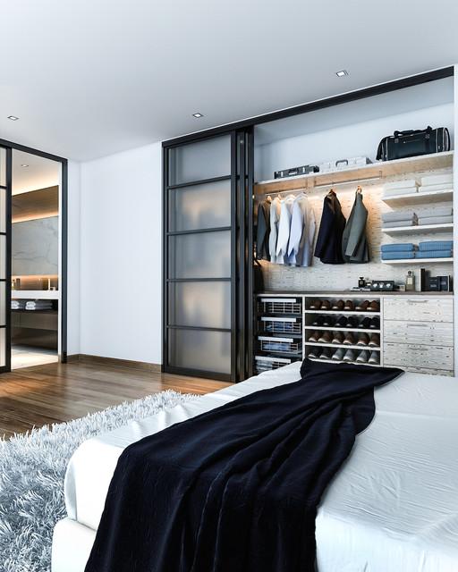 Imagen de dormitorio actual de tamaño medio