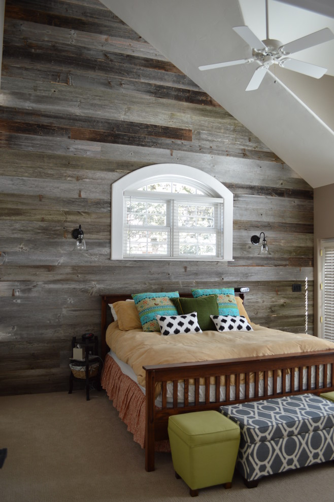 Mid-sized mountain style guest light wood floor bedroom photo in Denver with gray walls and no fireplace
