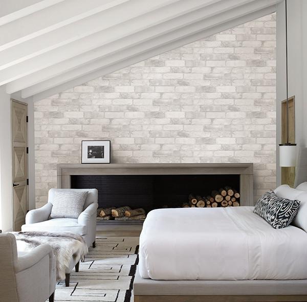 Reclaimed Bricks White Rustic Wallpaper Industrial