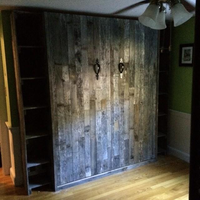 Reclaimed Pallet Wood Murphy Bed Craftsman Bedroom