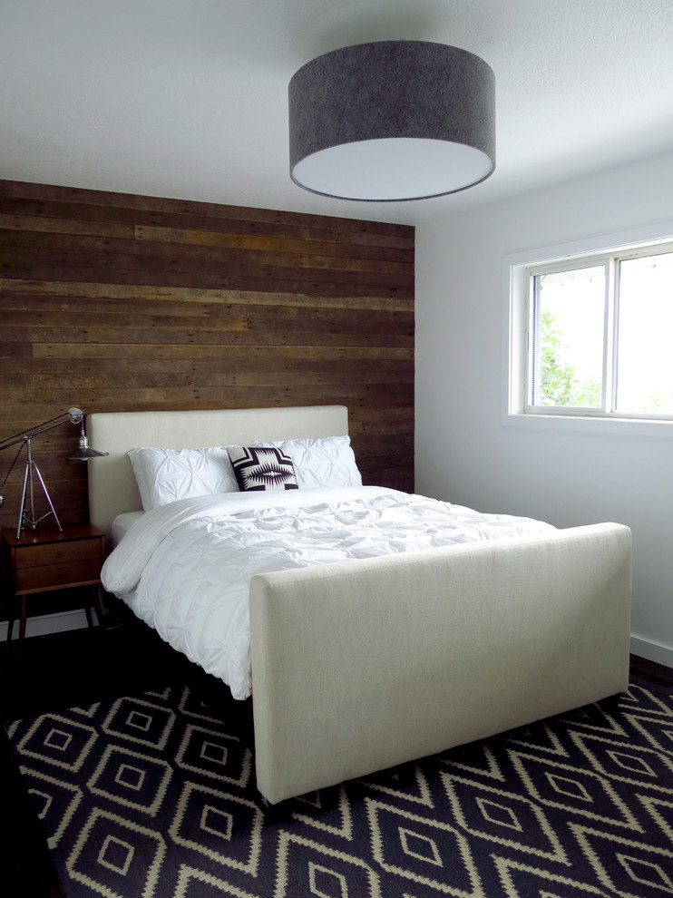 Trendy bedroom photo in Portland with white walls
