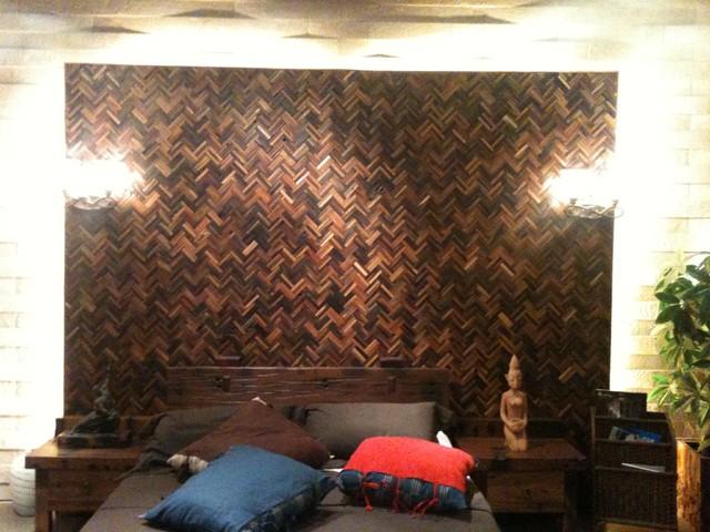 Reclaimed Wood Mosaic Wall - Fantesea contemporary-bedroom