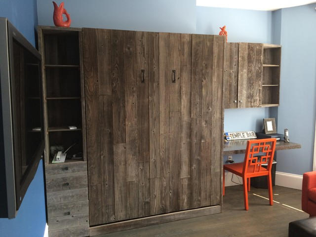 Reclaimed Wood Murphy Bed with Desk   Contemporary   Bedroom