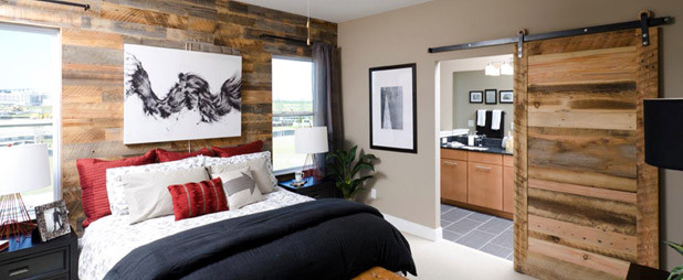 Reclaimed Wood Paneling Contemporary Bedroom Boise