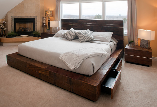 Reclaimed wood platform bed with drawers transitional for Bedroom furniture bed with drawers