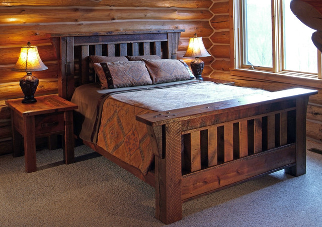 Reclaimed Wood Rustic Antique Wood Bed Rustic Bedroom Other Metro By Woodland Creek