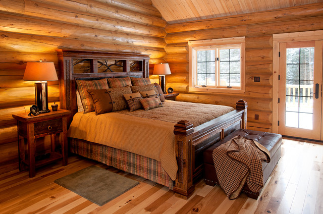 Reclaimed wood rustic cabin bed rustic bedroom other for Wooden interior design for bedroom