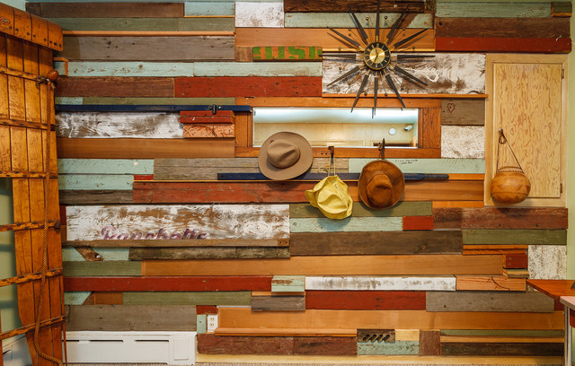 Reclaimed wood wall for a mountain cabin farmhouse-bedroom - Reclaimed Wood Wall For A Mountain Cabin - Farmhouse - Bedroom