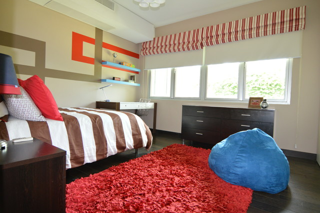 Red Brown And Blue Modern Bedroom Houston By Droz