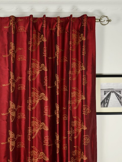 Red Embroidered Animal Dupioni silk curtains traditional-bedroom