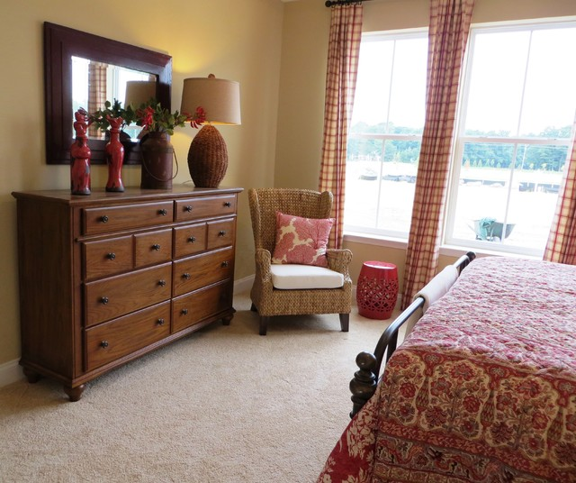 Red tan and cream casual cottage style eclectic for Red cream bedroom designs