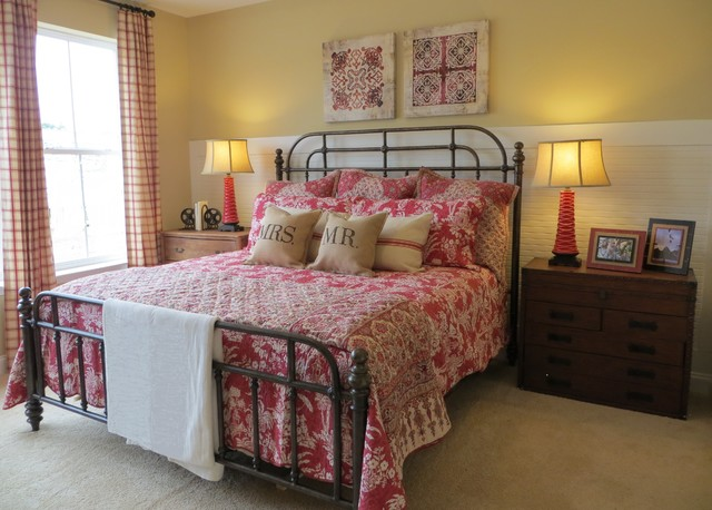 Red tan and cream casual cottage style eclectic Red and cream bedroom ideas