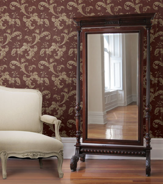 Red Wallpaper Traditional Bedroom Other By