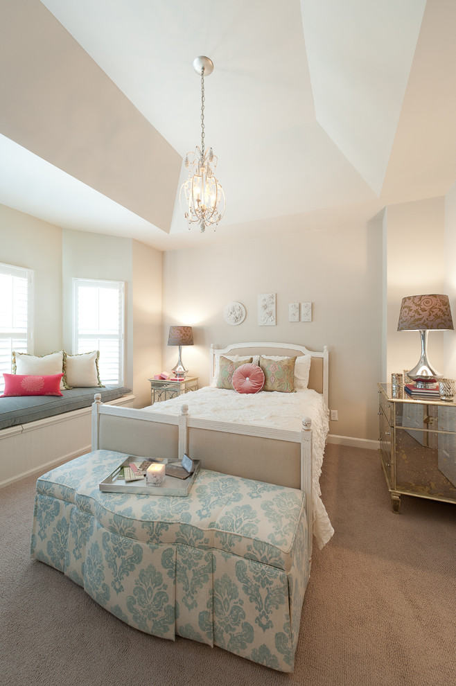 Bedroom - shabby-chic style carpeted bedroom idea in DC Metro with beige walls