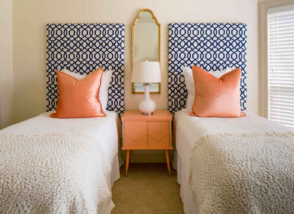 Bedroom - transitional carpeted bedroom idea in Little Rock with white walls