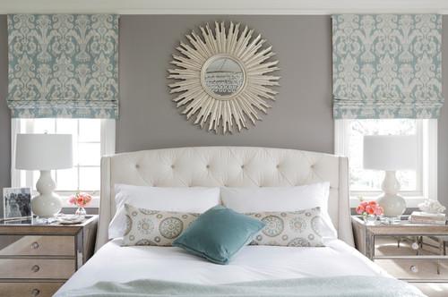 серый белый голубой цвет спальни