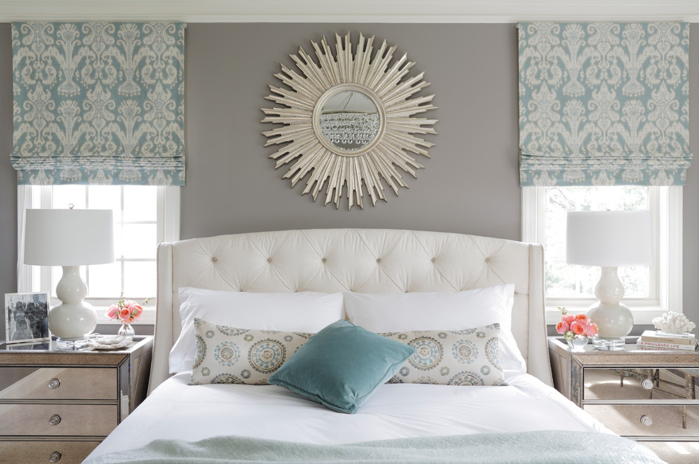Inspiration for a large transitional master bedroom remodel in Atlanta with gray walls