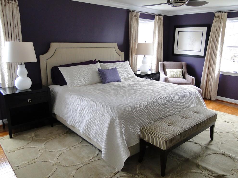 Bedroom - traditional bedroom idea in DC Metro with purple walls