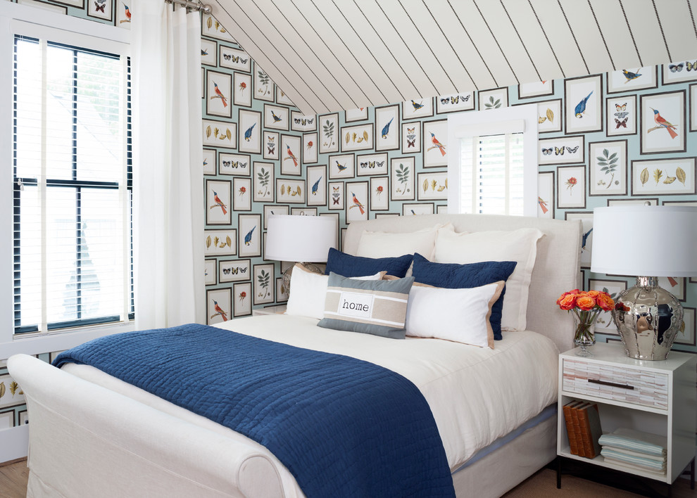Inspiration for a coastal bedroom remodel in DC Metro with multicolored walls